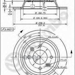 Тормоза - Диски Торм.Зад.Saab 900,9000     (258x9мм) Brembo арт. 08.5037.10, 0