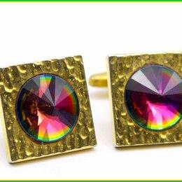 Запонки и зажимы - ЗАПОНКИ ВИНТАЖНЫЕ :: вставки цветное ювелирное стекло позолота 18гр, 0