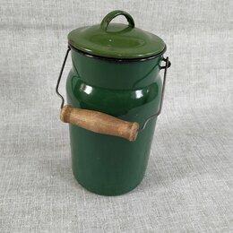 Ёмкости для хранения - Бидон для молока эмалированный старинный. СССР, 0