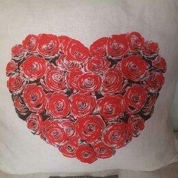 """Декоративные подушки - Подушка новая""""Цветущее Сердце"""" 45х45 см лен+хлопок, 0"""