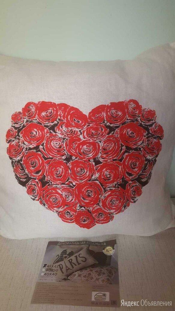 "Подушка новая""Цветущее Сердце"" 45х45 см лен+хлопок по цене 1000₽ - Декоративные подушки, фото 0"