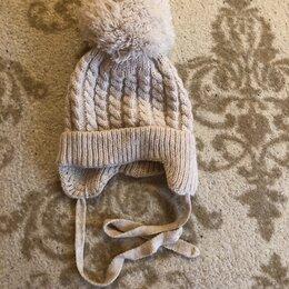 Головные уборы - Вязаная шапка с помпоном для новорожденного, 0