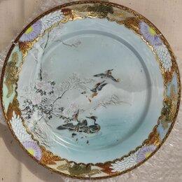 Посуда - фарфоровая тарелка китайская  с журавлями, коллекционная, старый Китай, 0