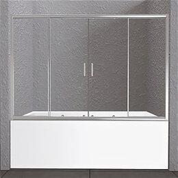 Шторы и карнизы - Шторка BelBagno Unique для ванны 1500/1400мм раздвижная стекло прозрачное хро..., 0