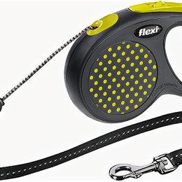 Поводки  - FLEXI рулетка DESIGN М (до 20 кг) 5 м трос черный/желтый горох , 0