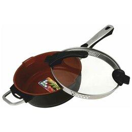 Сковороды и сотейники - Сотейник Vitesse Cherry VS-2524, 24 см, с крышкой, съемная ручка, черный/кори..., 0