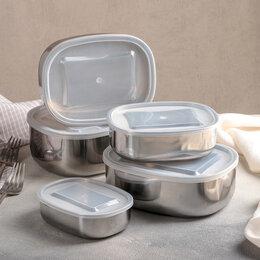 Одноразовая посуда - Набор салатников с крышками, 5 шт 350 мл, 700 мл, 850 мл, 1,3 л, 1,6 л, 0