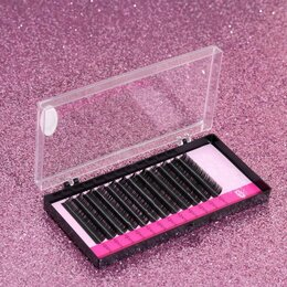 Для глаз - Ресницы для наращивания, 10 мм, толщина 0,1 мм, изгиб D, 12 рядов, цвет чёрный, 0