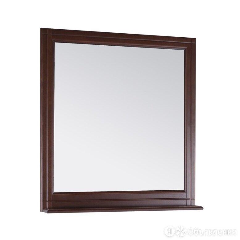 Зеркало АСБ Берта 85 (850х950х140) с полкой, массив ясеня, цвет антикварный орех по цене 9510₽ - Зеркала, фото 0