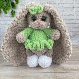 Мягкие игрушки - Вязаные плюшевая игрушка зайка в платье, 0