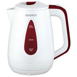 Электрочайники и термопоты - Чайник электрический Energy E-214 бело-бордовый (диск, 1,7л) 2кВт, термопласт..., 0