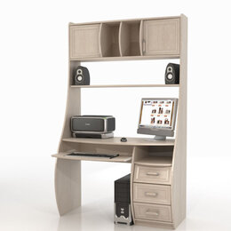 Компьютерные и письменные столы - Прямой компьютерный стол Беркут дуб беленый 120х58х200, 0