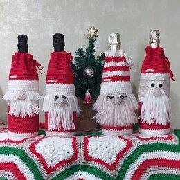 Новогодний декор и аксессуары - Новогодний декор: чехол на бутылку Дед Мороз, 0