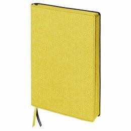 Рисование - Блокнот А5 (148x213 мм), BRAUBERG «Tweed», 112 л., гибкий, под ткань, линия, жел, 0