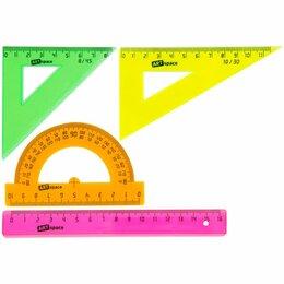 Письменные и чертежные принадлежности - Набор геом. малый ArtSpace  4 пред. (линейка 15см,2 треуг,трансп) прозр.цвет. (1, 0