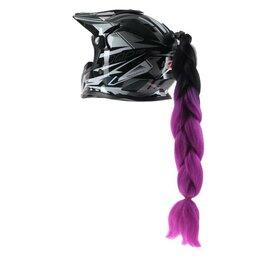 Аксессуары - Коса на мотошлем, крепление присоской, 60 см, черно-фиолетовый, 0