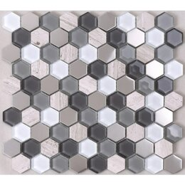 Мозаика - Мозаика Tessare 30,2х32,1х0,6см стекло-мрамор микс бежево-серебристый шт(HSL36), 0
