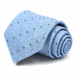 Галстуки и бабочки - Светло-синий галстук с жаккардовой клеткой Celine 63538, 0