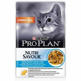 Корма  - Pro Plan® Nutri Savour® для взрослых кошек с чувствительной кожей, нежные кусочк, 0