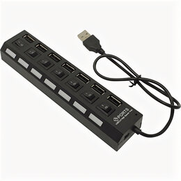 Аксессуары и запчасти для оргтехники - USB-хаб 2.0, Smart Buy SBHA-7207-B, 7 портов, с выключателем портов, черный, 0