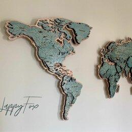 Картины, постеры, гобелены, панно - Карта мира из дерева на стену в наличии , 0