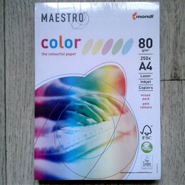 Бумага и пленка - Бумага MAESTRO color А4, 80 г/м, 250 л. (5цв.x50л.) цветная пастель RB01, 0