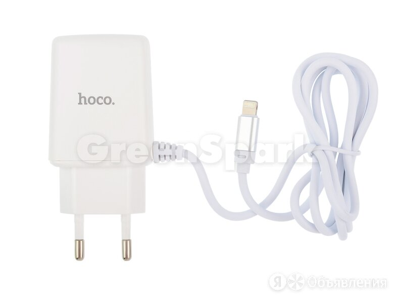 СЗУ HOCO C82A Real power (2-USB/2.4A) + встроенный Lightning кабель (белый) по цене 300₽ - Прочие запасные части, фото 0