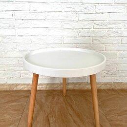 Столы и столики - Стол журнальный круглый пластик+дерево, белый, 0