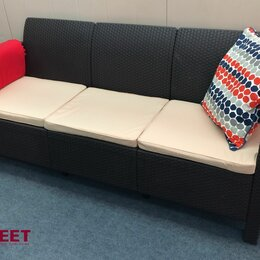 Диваны - Трехместный диван из ротанга с подушками TWEET Sofa 3 Seat венге, 0