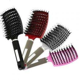 Маски и сыворотки - Массажная расческа для волос с комбинированной щетиной, розовая, 0