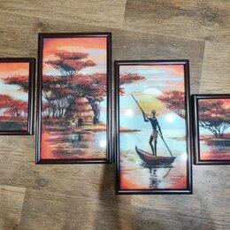 """Картины, постеры, гобелены, панно - Золотое руно Полиптих """"Вечерняя Африка"""", 0"""
