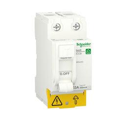 Концевые, позиционные и шарнирные выключатели - SE RESI9 Выключатель дифференциального тока (УЗО) 63А 2P 300мА тип AC, 0