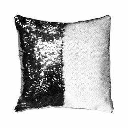 Декоративные подушки - Подушка-хамелеон с пайетками 40*40см Черная, 0