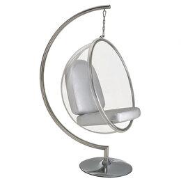 Плетеная мебель - Кресло подвесное с ножкой серебро Bubble Chair, 0