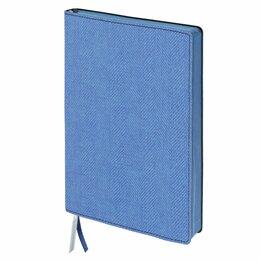 Рисование - Блокнот А5 (148x213 мм), BRAUBERG «Tweed», 112 л., гибкий, под ткань, линия, син, 0