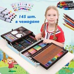 """Рисование - Чемоданчик """"набор юного художника"""" 145 предметов (голубой, с единорогом), 0"""