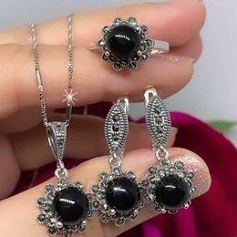 Комплекты - Украшения СЕРЕБРО  с черными камнями , 0