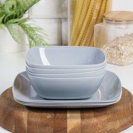 Тарелки - Набор тарелок 'Квадро', цвет серый, 0