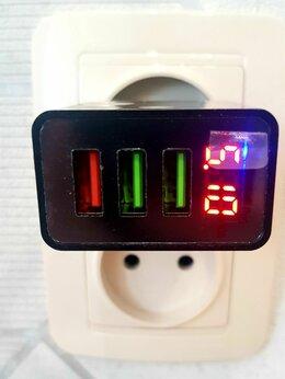 Зарядные устройства и адаптеры - Зарядный блок на 3 USB порта + вольтметр, 0