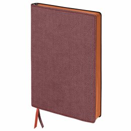 Рисование - Блокнот А5 (148x213 мм), BRAUBERG «Tweed», 112 л., гибкий, под ткань, линия, бор, 0