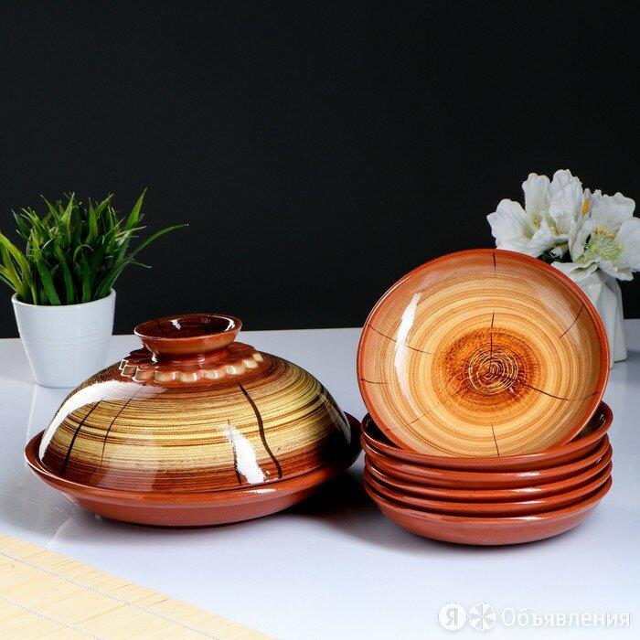Набор для блинов 7 предметов 1 шт. блинница, 6 шт. тарелок, с росписью, можже... по цене 1329₽ - Бокалы и стаканы, фото 0