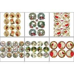 Декупаж - Набор декупажных карт 6 шт 'Рождественские шары' А4, 45 г/м2, 0