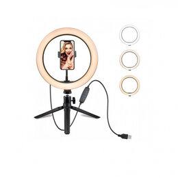 Осветительное оборудование - Настольная кольцевая лампа с держателем для телефона, 0