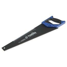 Пилы, ножовки, лобзики - Ножовка по дереву TUNDRA, 2К рукоятка, тефлоновое покрытие, 3D заточка, 7-8 T..., 0