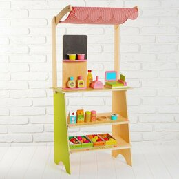 Торговля - Игровой набор «Играем в магазин», деревянные продукты в наборе, 0