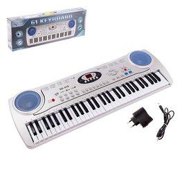 Детские музыкальные инструменты - Синтезатор «Музыкальный мир», 61 клавиша, с микрофоном и адаптером, 0
