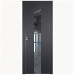 Межкомнатные двери - Межкомнатные двери Profil Doors 25E Черный матовый Зеркало Кромка Матовая с 4..., 0