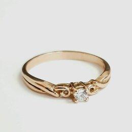 Кольца и перстни - Золотое кольцо с одним Камнем 18,5, 0