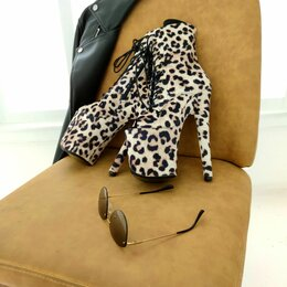 Обувь для спорта - Стрипы ботильоны  тройки замша леопард 36-40р, 0