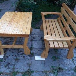 Комплекты садовой мебели - Комплект дачной деревянной мебели скамейка и стол, 0